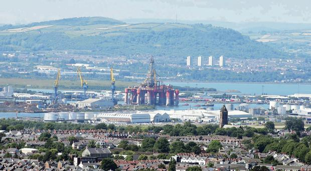 The Blackford Dolphin sails up Belfast Lough after leaving Harland and Wolff shipyard following its major refit