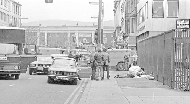The scene at Wellington Place where the three gunmen were captured, one of whom was injured