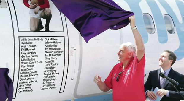 Rugby legend Willie-John McBride with Fred Kochak of Flybe as the tribute to the 1974 team is unveiled