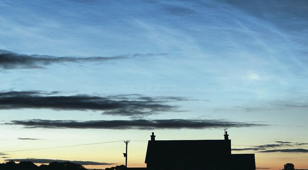 Unusual noctilucent, or 'night-shining', clouds over Maghera in Co Derry