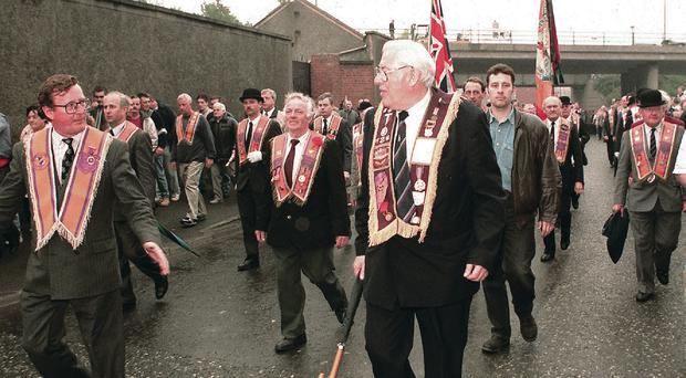 Ian Paisley and David Trimble at the bottom of the Garvaghy Road after the 1995 parade was allowed to pass down the road