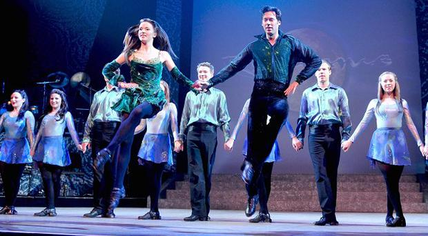 Dancers on stage during Riverdance's farewell UK tour