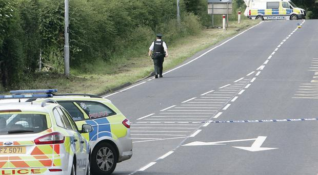 The scene of the road crash in which Declan McKenna and Christopher O'Neill died