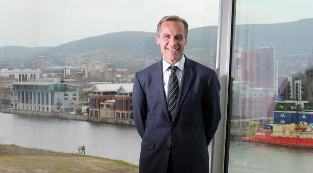 Bank of England governor Mark Carney at Titanic Belfast yesterday