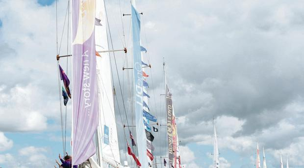 The Clipper yachts leave the River Foyle yesterday