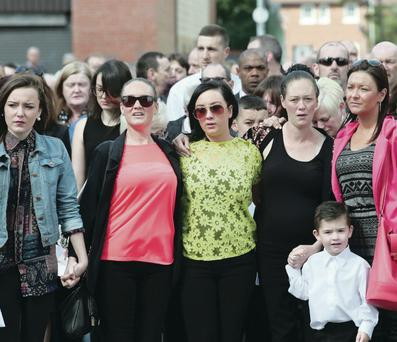 Mourners pay their respects at Gerry Conlon's funeral in west Belfast