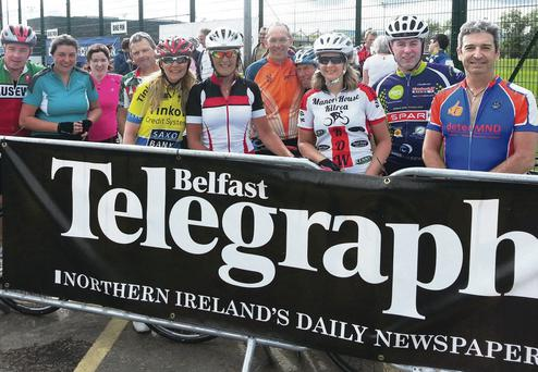Some of the Maracycle participants, including the Belfast Telegraph's Colin O'Carroll (right), after the finish of the 220-mile event