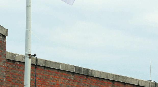 One of the flags put up by loyalists outside Lisburn Road PSNI station yesterday