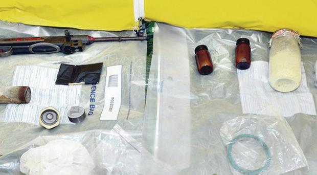 The firearm and explosives haul discovered in Niall Lehd's bag