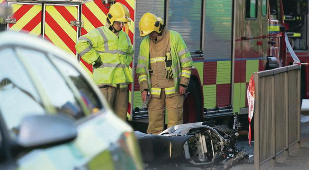 Emergency services at the scene of the latest crash in south Belfast