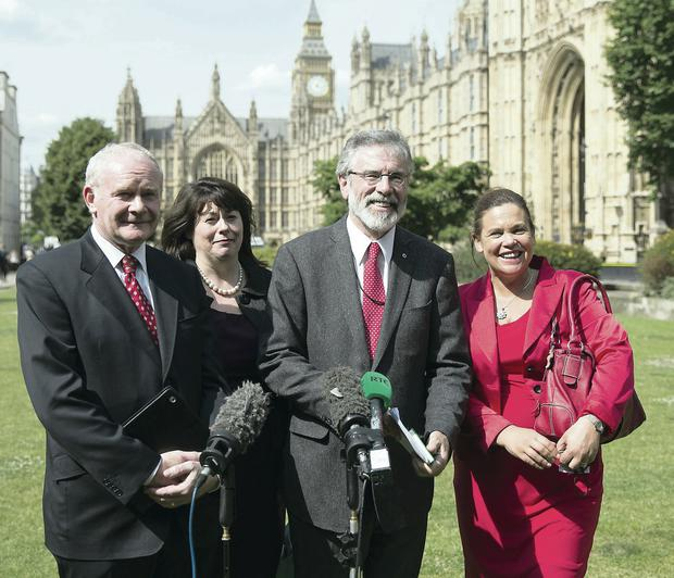 Deputy First Minister Martin McGuinness, Sinn Fein MP Michelle Gildernew, party president Gerry Adams and vice president Mary Lou McDonald at the Houses of Parliament
