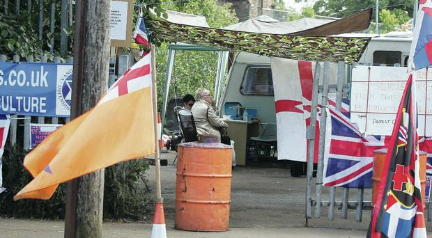 The loyalist camp set up in the Woodvale area of north Belfast