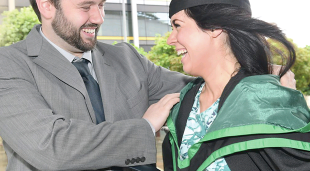 Gemma McIlwaine and her fiancé Scott Cormack at her graduation at the University of Ulster