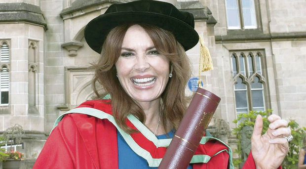 Roma Downey with her honorary degree of Doctor of Fine Art for her outstanding contribution to acting and philanthropy
