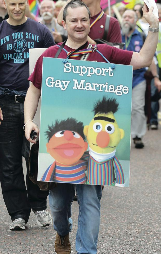 Gareth Lee during a gay rights parade