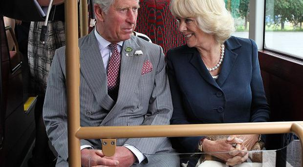 The Prince of Wales and Duchess of Cornwall on a visit to Wrightbus