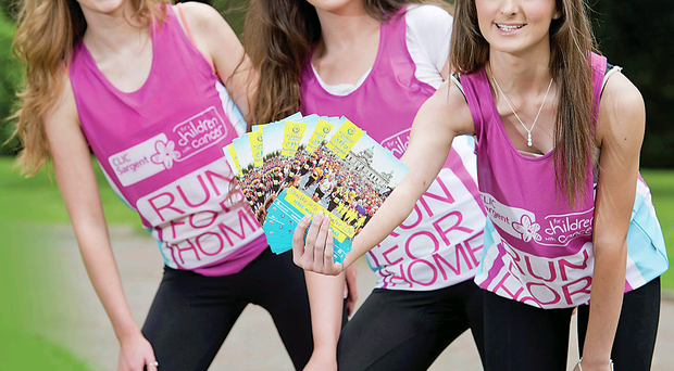 Amy Uprichard (right) joins Miss NI finalists Emma Irvine and Amber Sloan to encourage people to take part in the Run for Home event