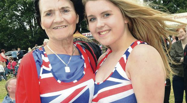 Mary Draper and her granddaughter Sarah-Ellen Gibson in the same topical dresses at Markethill