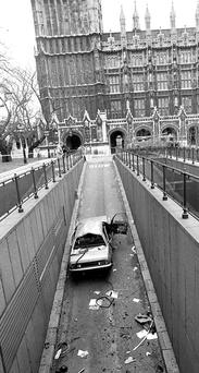 The remains Airey Neave's Vauxhall car after an INLA booby-trap bomb exploded as he was leaving the underground car park at the House of Commons in 1979