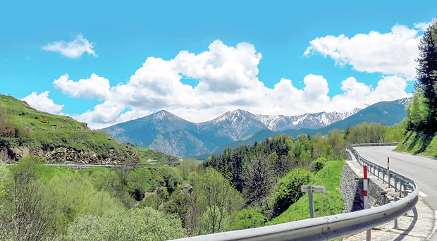 The precipitous roads of the Pyrenees which Brendan will follow on his motorbike