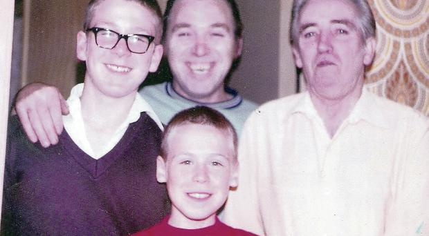 Kevin Brayson as a boy with (from left) older brother Ian, father Ronald and uncle Bobby