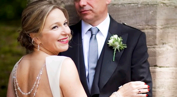 Newlyweds Michelle and Paul Greeves on their wedding day. Michelle's dress, by Mary Rose McGrath, featured a necklace left to her by her grandmother