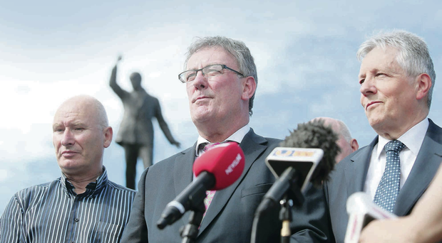 PUP leader Billy Hutchinson, UUP chief Mike Nesbitt and DUP leader Peter Robinson yesterday after meeting Secretary of State Theresa Villiers at Stormont