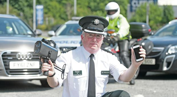 Superintendent Gerry Murray at the launch of the PSNI's summer road safety campaign yesterday
