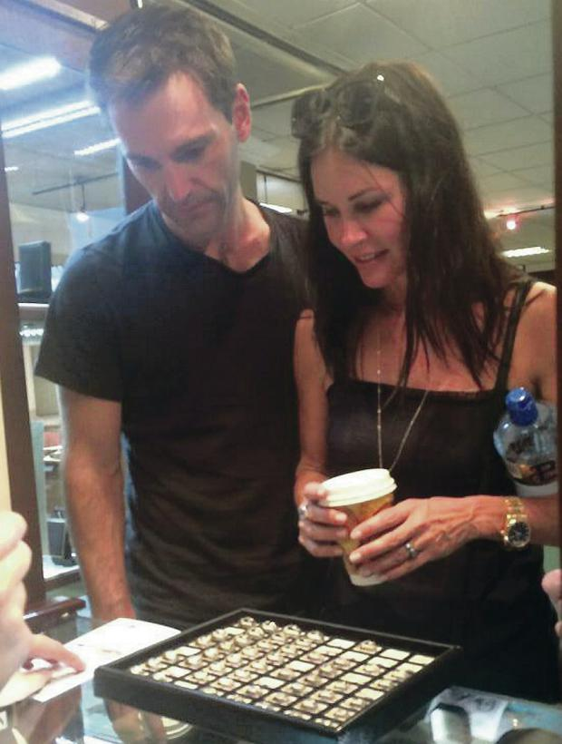 Courteney Cox and Johnny McDaid shopping in Cooley's Jewellers in Derry