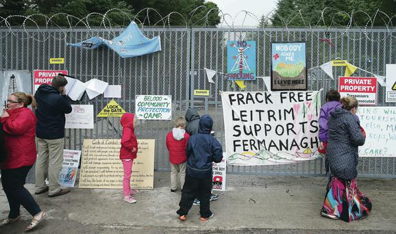 Anti-fracking protesters at the Belcoo quarry in Co Fermanagh
