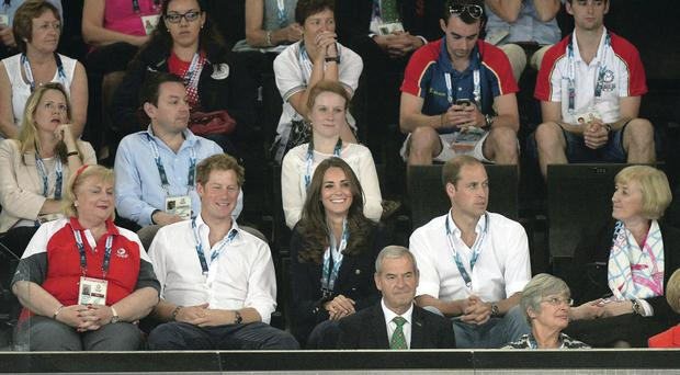 The Duke and Duchess of Cambridge with Prince Harry as they watch the action at the SEE Hydro