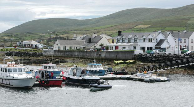 Portmagee Pier, where crew members are leaving from to travel to Skellig Michael Island