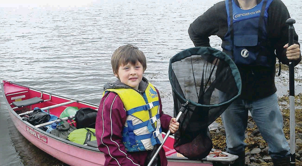 Cadogan Enright and his son Cad Og get set for their adventure on Strangford Lough
