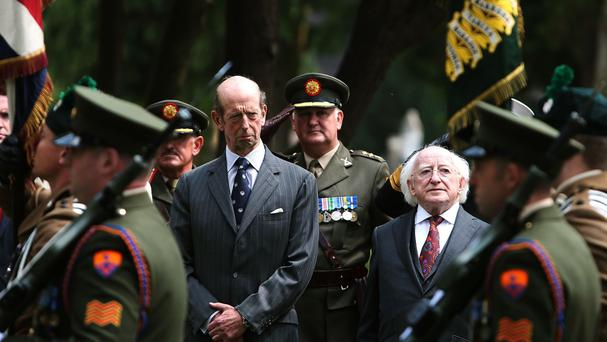The Duke of Kent and President Michael D Higgins at the unveiling of the Cross of Sacrifice at Glasnevin Cemetery in Dublin