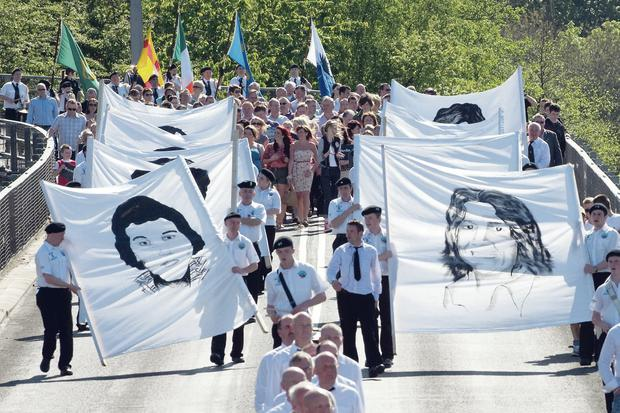 A hunger strike commemoration taking place in Londonderry in 2011