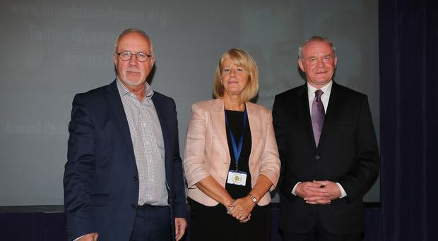 Colin Parry, left, with his wife Wendy and Northern Ireland Deputy First Minister Martin McGuinness during the Tim Parry Johnathan Ball Foundation for Peace event in Warrington
