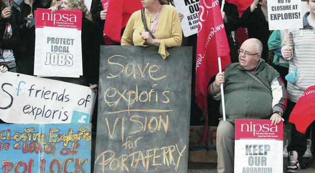 Campaigners hold a rally in support of Exploris. Their efforts have paid off with Stormont finding £900k to save the aquarium