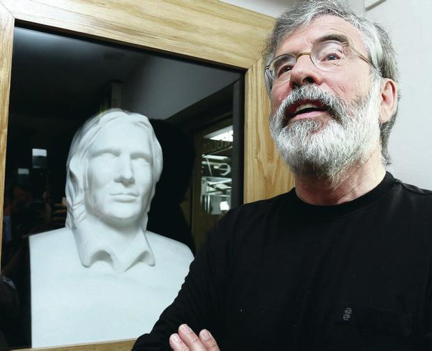 Gerry Adams at the unveiling of a bust of Bobby Sands on the Falls Road in Belfast
