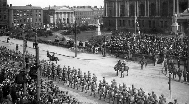 The 36th Ulster Division march past at Belfast City Hall in May 1915