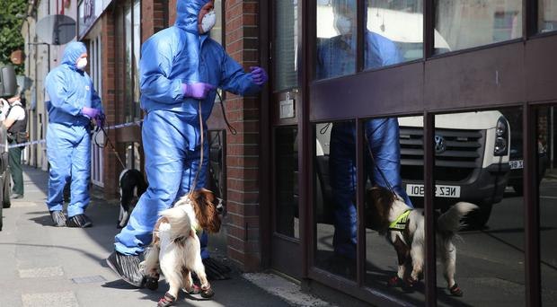 Police with victim recovery dogs in Hanover Street, Portadown