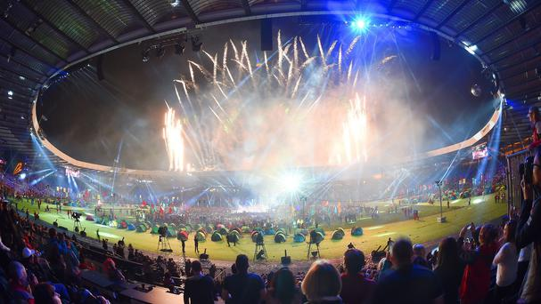 Fireworks mark the end of the 2014 Commonwealth Games closing ceremony at Hampden Park, Glasgow
