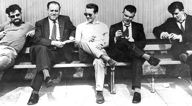 Paddy Toner, Syd Maguire, Alex Toner, Eddie McIlwaine and Robin Walsh on that sunny day in Bangor in early Sixties