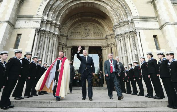 The Duke of York with the Very Rev John Mann, Dean of Belfast, and Sir Nigel Hamilton at the Remembrance Service in St Anne's Cathedral