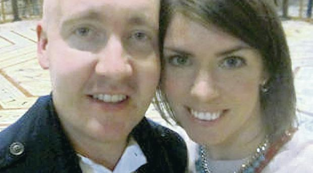 Patrick Finlay with his wife Ashley after undergoing treatment for a brain tumour