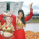 Daliya Khadir, Chelsea English and Dona Das Gupta from ArtsEkta's South Asian Dance Academy launch Belfast Mela 2014