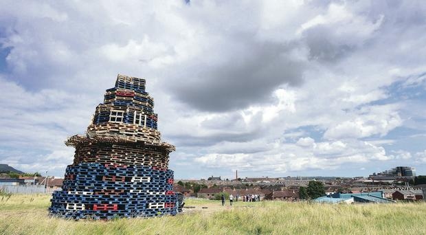 The anti-internment bonfire sited close to Mica Day Centre in the Beechmount area of west Belfast