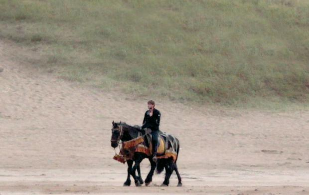 A cast member on Portstewart Strand after it was closed to facilitate filming for Game of Thrones