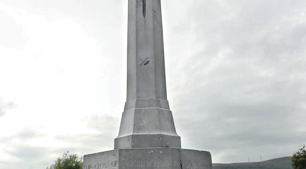 The Cross of Sacrifice damaged in the City Cemetery
