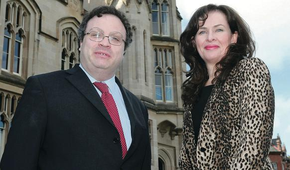 Dr Stephen Farry MLA and Professor Deirdre Heenan outside Magee Campus in 2011