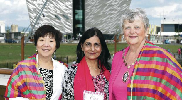 Anna Lo MLA, Nisha Tandon OBE, director of ArtsEkta, and Deputy Lord Mayor of Belfast, Cllr Maire Hendron at the launch of the Mela festival